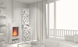 Концепция современной просторной квартиры квартир белая стоковые изображения