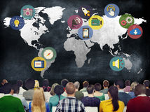 Концепция соединения глобальных средств массовой информации средств массовой информации социальных международная Стоковая Фотография