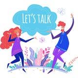 Концепция сообщения, диалога, контакта, между людьми иллюстрация штока