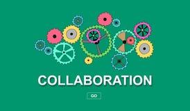Концепция сотрудничества на зеленой предпосылке Стоковое Изображение RF
