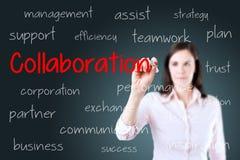 Концепция сотрудничества сочинительства бизнес-леди background card congratulation invitation стоковая фотография rf