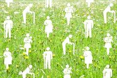 Концепция социального обеспечения на зеленой предпосылке луга Стоковые Изображения RF