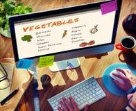 Концепция списка покупок питания овощей стоковые изображения rf