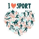 Концепция спорта влюбленности иллюстрация штока