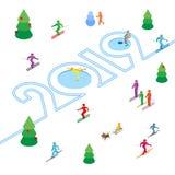 Концепция 2019 - спорт Нового Года бесплатная иллюстрация
