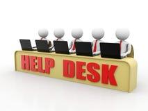 Концепция справочного бюро, 3D меньший человеческий характер в центре телефонного обслуживания 3d представляют Стоковые Изображения RF