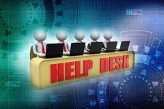 Концепция справочного бюро, 3D меньший человеческий характер в центре телефонного обслуживания 3d представляют Стоковые Фотографии RF
