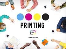 Концепция средств массовой информации индустрии цвета чернил процесса печати смещенная Стоковое Фото