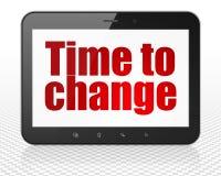 Концепция срока: Tablet компьютер ПК с временем изменить на дисплее Стоковое фото RF