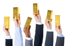 Концепция стандарта меновой стоимости золотого бара торгуя стоковые фото