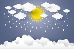 Концепция стиль искусства сезона дождей бумажный Стоковое Изображение RF