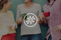 Концепция столба блога средств массовой информации значка Hashtag социальная Стоковые Фото