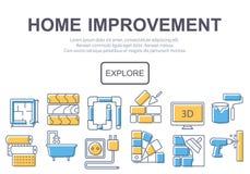 Концепция страницы или знамени места названия для улучшения дома Стоковые Изображения RF
