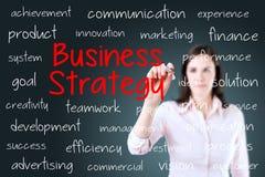 Концепция стратегии бизнеса сочинительства коммерсантки background card congratulation invitation Стоковые Фотографии RF