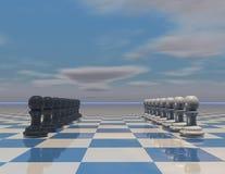 Концепция стратегии игры при установленные шахматные фигуры Стоковые Изображения RF