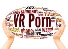 Концепция сферы руки облака слова VR стоковые изображения rf