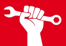 Концепция схватки работника мира для того чтобы получить социальные пособия с поднятым кулаком иллюстрация вектора
