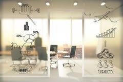 Концепция схемы дела на прозрачной стене в конференц-зале a Стоковое Изображение