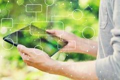 Концепция схемы технологического процесса при человек держа его таблетку стоковые изображения