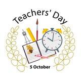Концепция счастливого дня учителя s смешная Вектор запаса Стоковое Изображение RF