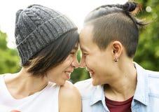 Концепция счастья моментов пар LGBT лесбосская Стоковое Изображение RF