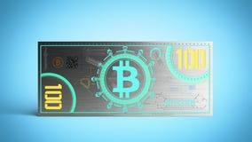 концепция счетов денег 3d банкноты bitcoin виртуальных представляет на голубом Стоковая Фотография RF