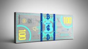 концепция счетов денег 3d банкноты денег bitcoin виртуальных представляет Стоковые Изображения RF