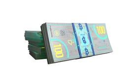 концепция счетов денег 3d банкноты bitcoin представляет на белизне не sh Стоковое фото RF