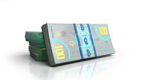 Концепция счетов денег 3d банкноты bitcoin представляет на белизне Стоковые Изображения