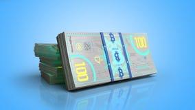 Концепция счетов денег 3d банкноты bitcoin представляет на сини Стоковая Фотография RF