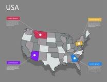 Концепция США карты Стоковые Фотографии RF