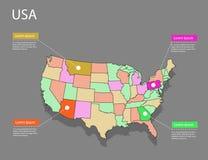 Концепция США карты Стоковые Изображения
