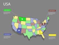 Концепция США карты Стоковая Фотография
