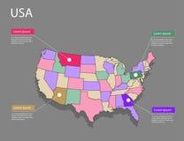 Концепция США карты Стоковые Изображения RF