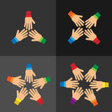 Концепция сыгранности с группой в составе руки Стоковая Фотография RF