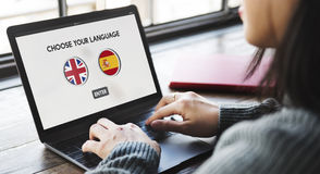 Концепция словаря языка английская испанская Стоковые Изображения