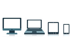Концепция с телефоном компьтер-книжки таблетки экрана электронных устройств Стоковое Фото