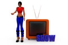 концепция тв-шоу женщины 3d Стоковое Изображение RF
