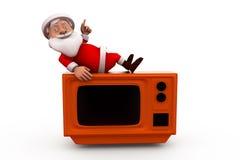концепция ТВ 3d Санта Клауса Стоковые Изображения RF