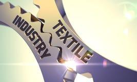 Концепция текстильной промышленности Золотистые cogwheels 3d Стоковые Изображения RF