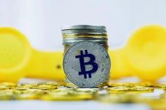 Концепция телефона Bitcoin Стоковое Изображение