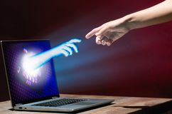 Концепция технологии виртуальной реальности или искусственного интеллекта Стоковое Изображение RF