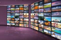 Концепция технологии в входе залы средств массовой информации как видео- стена Стоковые Фотографии RF