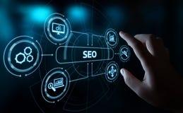 Концепция технологии дела интернета вебсайта движения ранжировки маркетинга оптимизирования поисковой системы SEO стоковая фотография rf