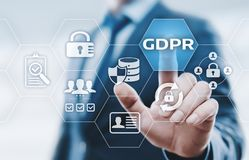 Концепция технологии интернета дела общей защиты данных GDPR регулированная стоковое изображение