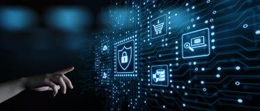 Концепция технологии интернета дела уединения безопасностью кибер защиты данных стоковое изображение rf
