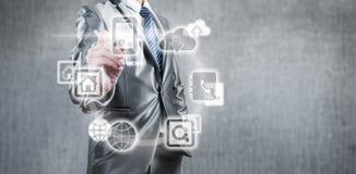 Концепция технологии интернета глобального бизнеса Стоковые Изображения RF