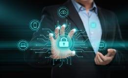 Концепция технологии интернета дела уединения безопасностью кибер защиты данных стоковая фотография rf