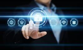Концепция технологии интернета дела уединения безопасностью кибер защиты данных стоковые фото