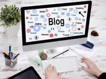 Концепция технологии средств массовой информации блога сети социальная Стоковое фото RF